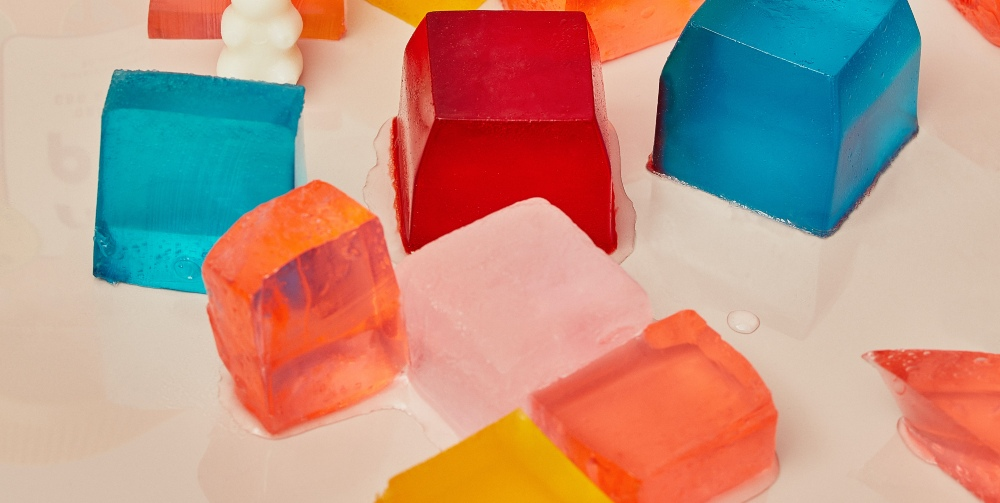 cubes of jelly on a table