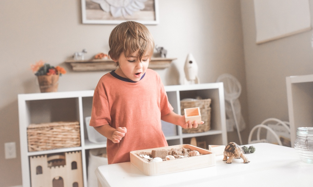 montessori toys being played with
