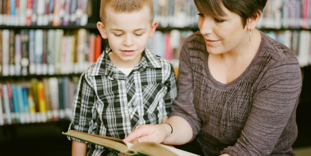 teacher reading to a child